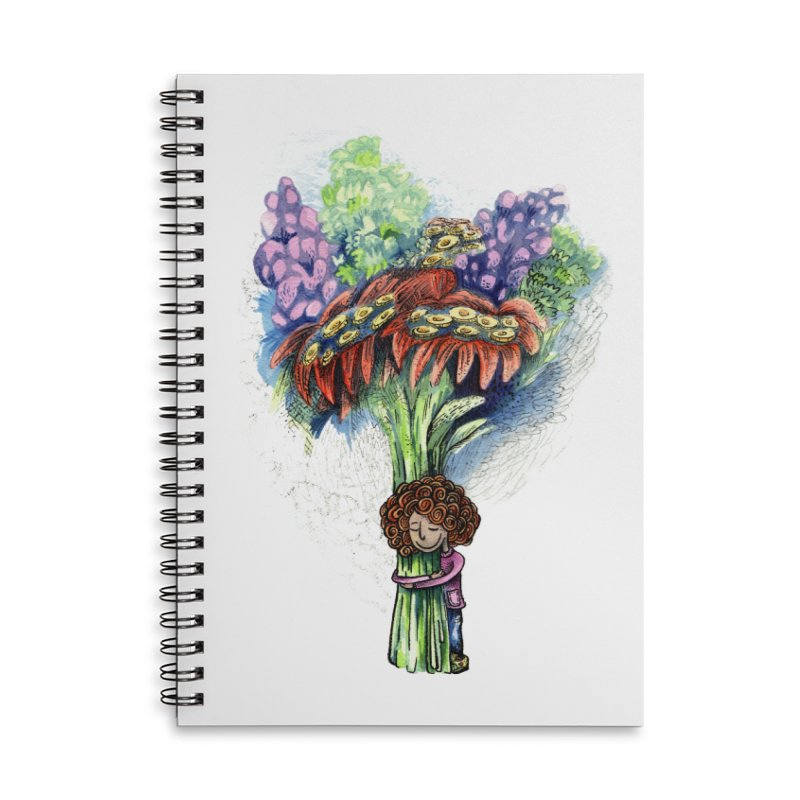 Flower Hug Accessories Lined Spiral Notebook by alicemdraws's Artist Shop