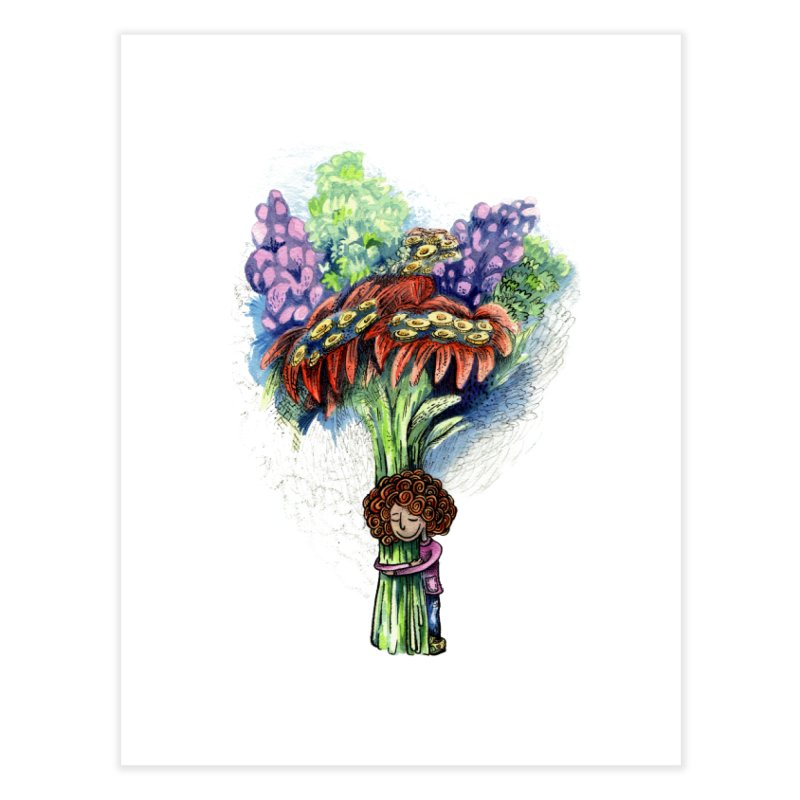 Flower Hug Home Fine Art Print by alicemdraws's Artist Shop