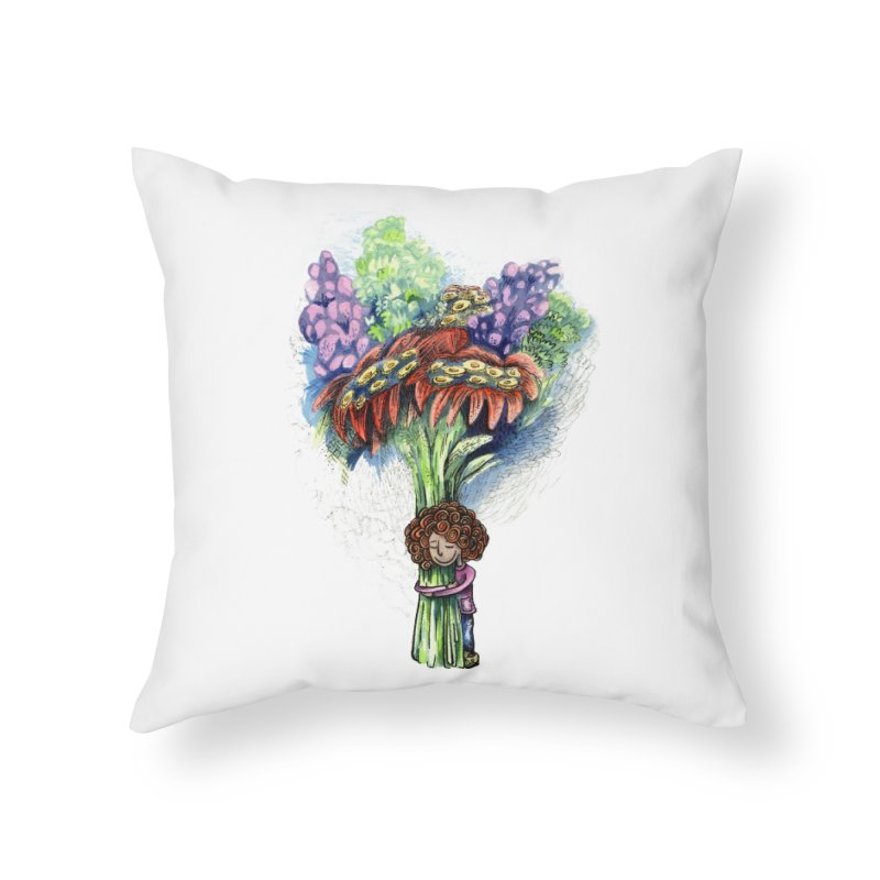 Flower Hug Home Throw Pillow by alicemdraws's Artist Shop