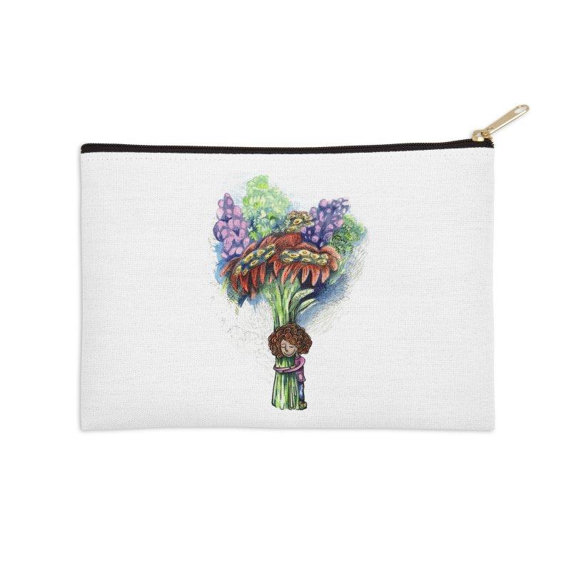 Flower Hug Accessories Zip Pouch by alicemdraws's Artist Shop