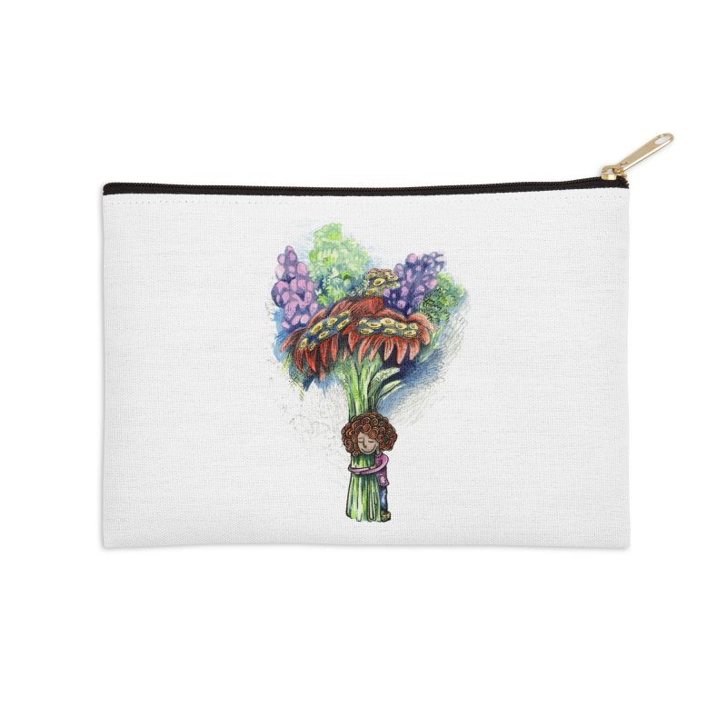 Flower Hug Accessories Zip Pouch by alicemdraws's Artist Shop