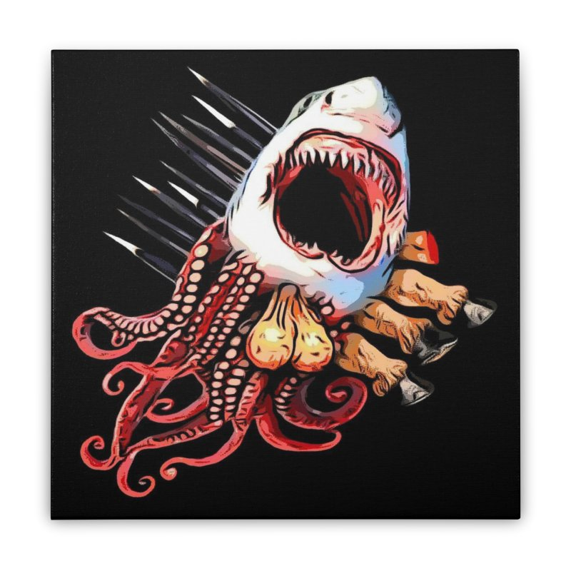 Sharktapusaporkupony Home Stretched Canvas by ALIEN X GEAR