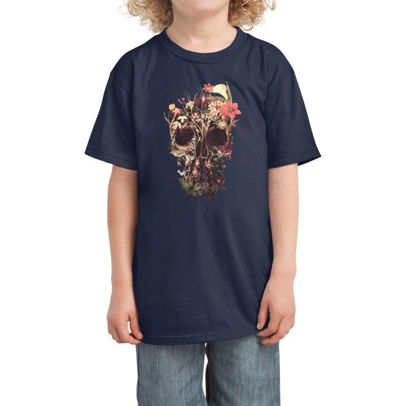 Bloom Skull Kids T-Shirt by Ali Gulec