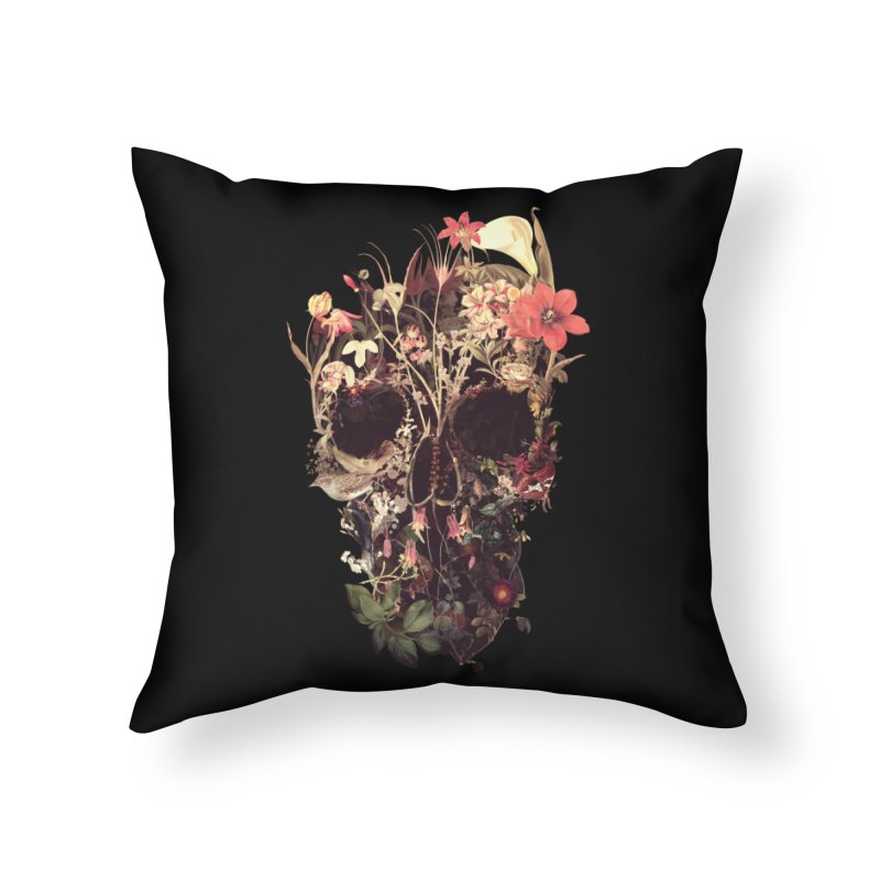 Bloom Skull Home Throw Pillow by Ali Gulec