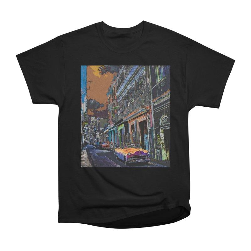 Streets of Havana -in orange Women's Heavyweight Unisex T-Shirt by alisajane's Artist Shop