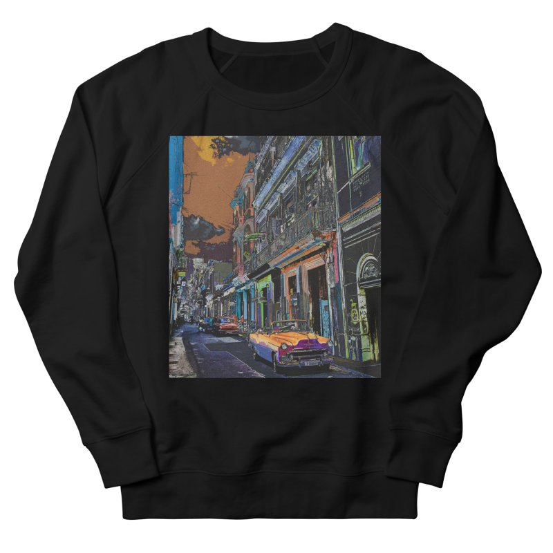 Streets of Havana -in orange Women's French Terry Sweatshirt by alisajane's Artist Shop