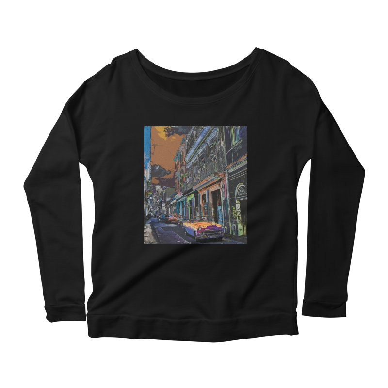 Streets of Havana -in orange Women's Scoop Neck Longsleeve T-Shirt by alisajane's Artist Shop