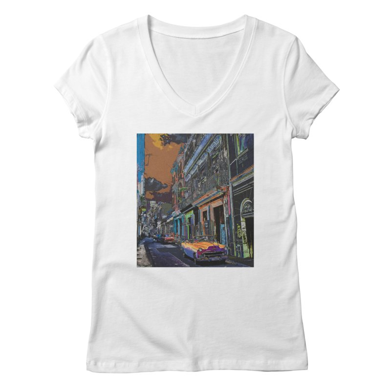 Streets of Havana -in orange Women's V-Neck by alisajane's Artist Shop