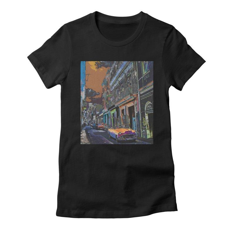 Streets of Havana -in orange Women's Fitted T-Shirt by alisajane's Artist Shop