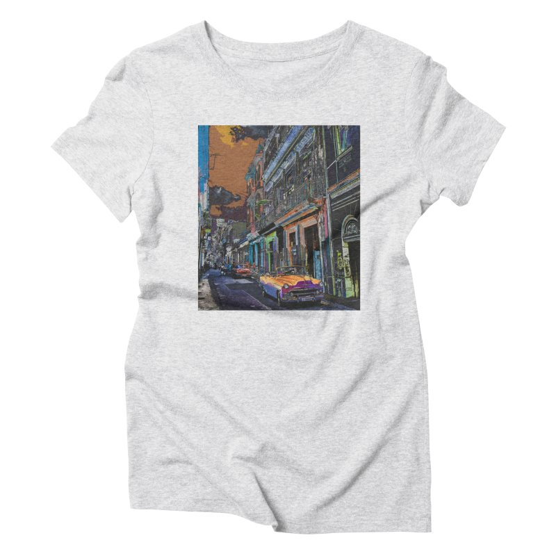 Streets of Havana -in orange Women's Triblend T-Shirt by alisajane's Artist Shop