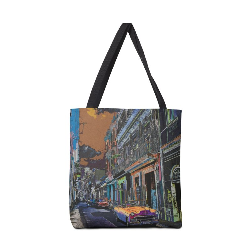Streets of Havana -in orange Accessories Tote Bag Bag by alisajane's Artist Shop