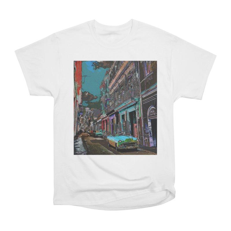Streets of Havana -in blue Women's Heavyweight Unisex T-Shirt by alisajane's Artist Shop
