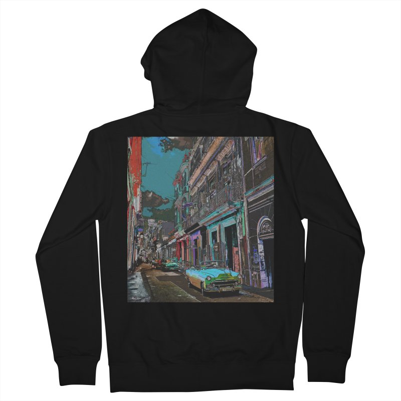 Streets of Havana -in blue Men's French Terry Zip-Up Hoody by alisajane's Artist Shop