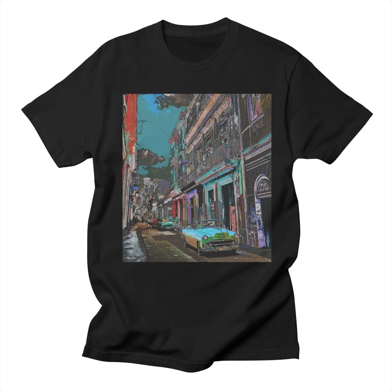 Streets of Havana -in blue Men's Regular T-Shirt by alisajane's Artist Shop