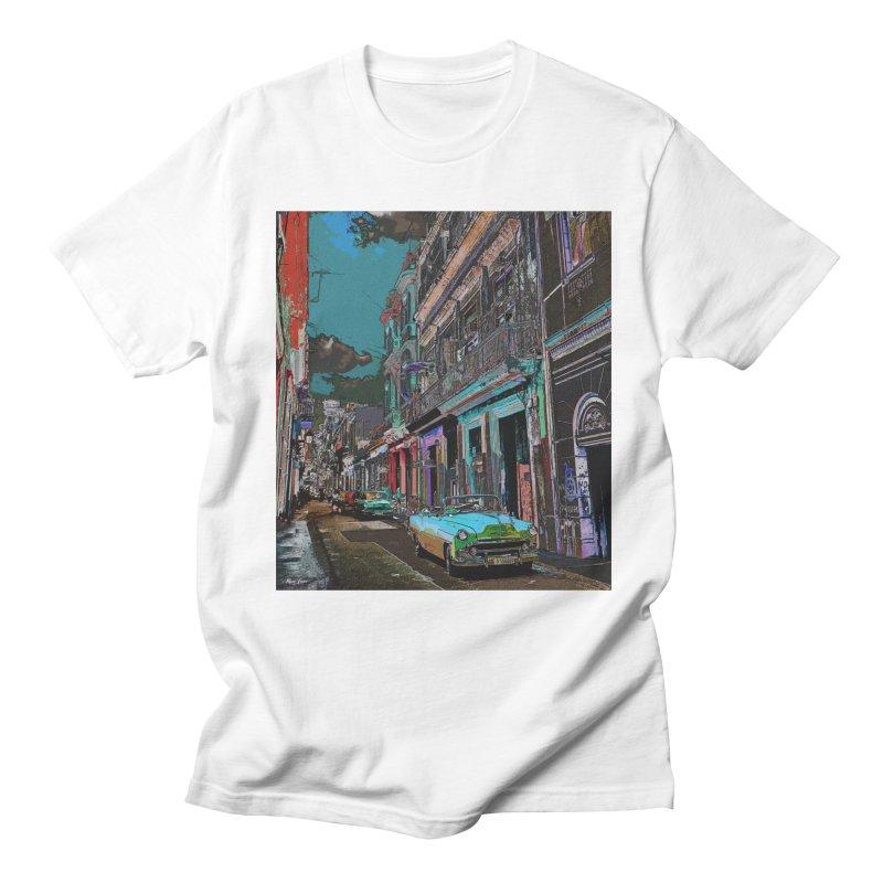 Streets of Havana -in blue Men's Regular T-Shirt by alisajane's Artist Shop