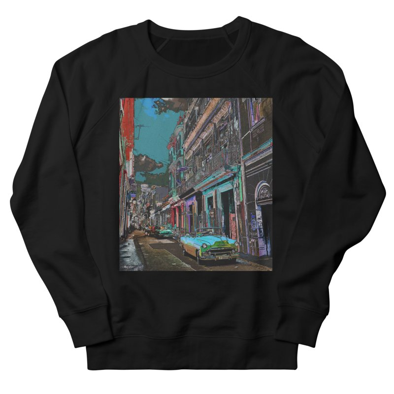 Streets of Havana -in blue Women's French Terry Sweatshirt by alisajane's Artist Shop