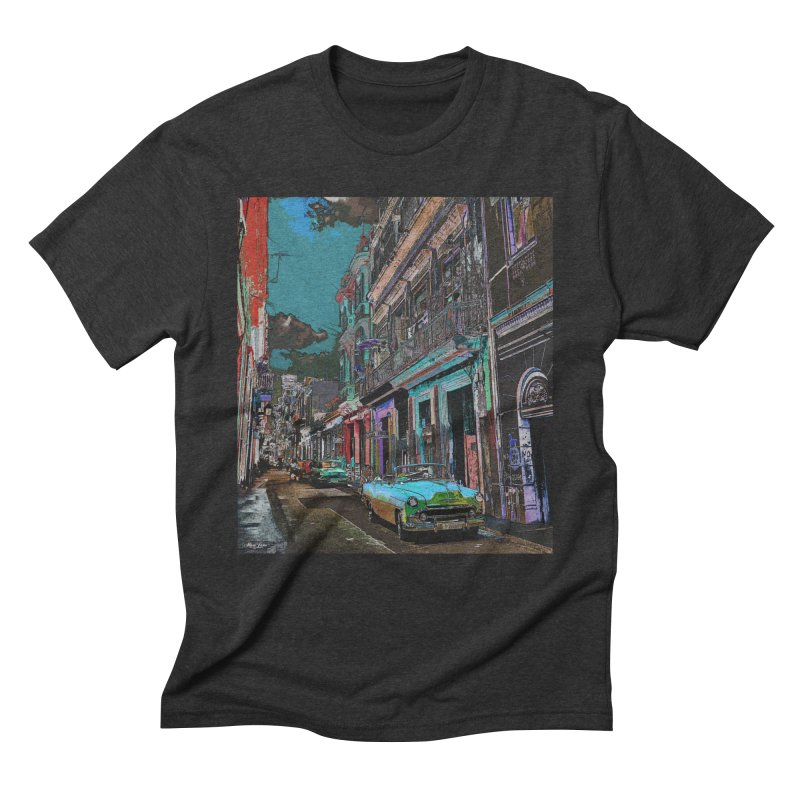 Streets of Havana -in blue Men's Triblend T-Shirt by alisajane's Artist Shop