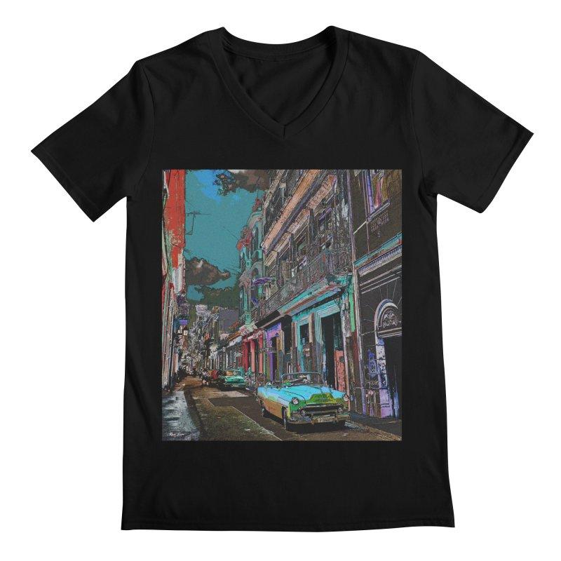 Streets of Havana -in blue Men's Regular V-Neck by alisajane's Artist Shop