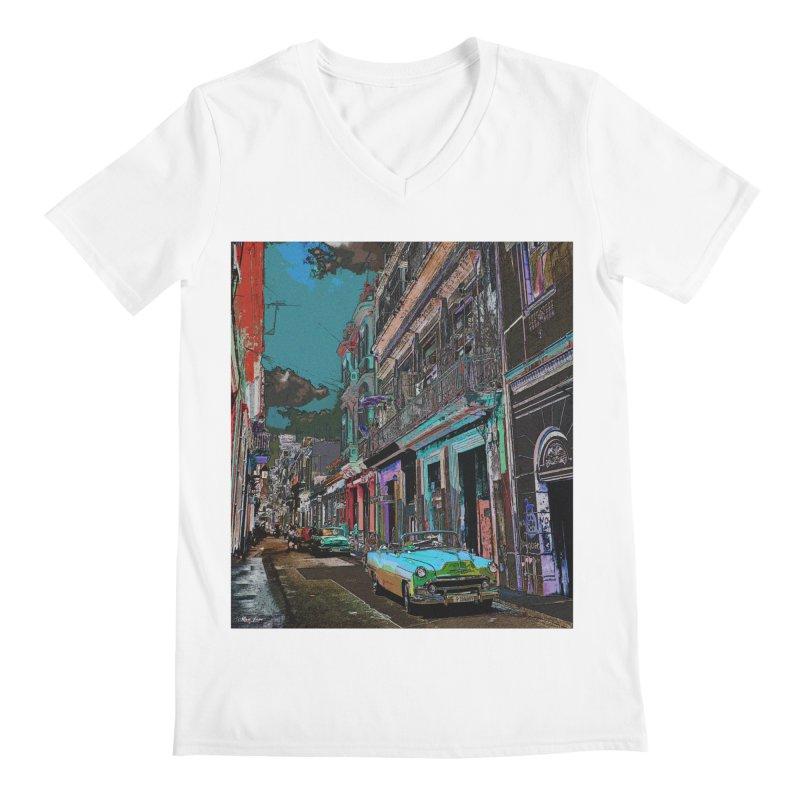 Streets of Havana -in blue Men's V-Neck by alisajane's Artist Shop
