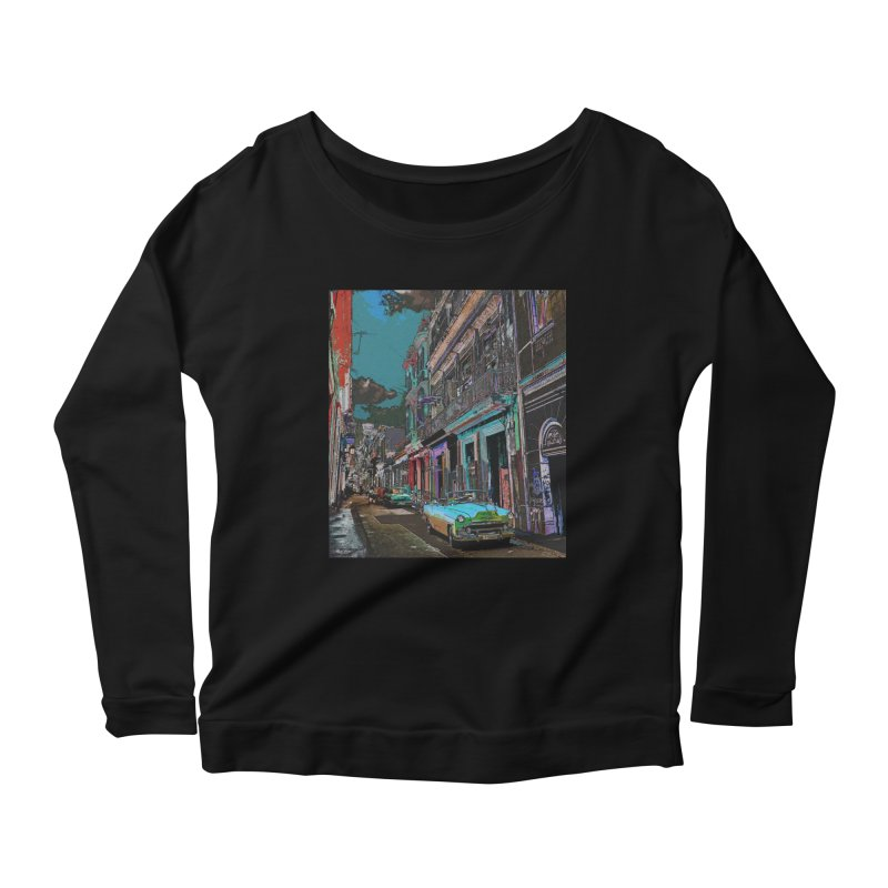 Streets of Havana -in blue Women's Scoop Neck Longsleeve T-Shirt by alisajane's Artist Shop