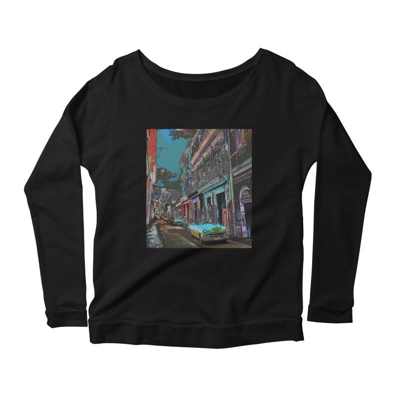 Streets of Havana -in blue Women's Longsleeve T-Shirt by alisajane's Artist Shop