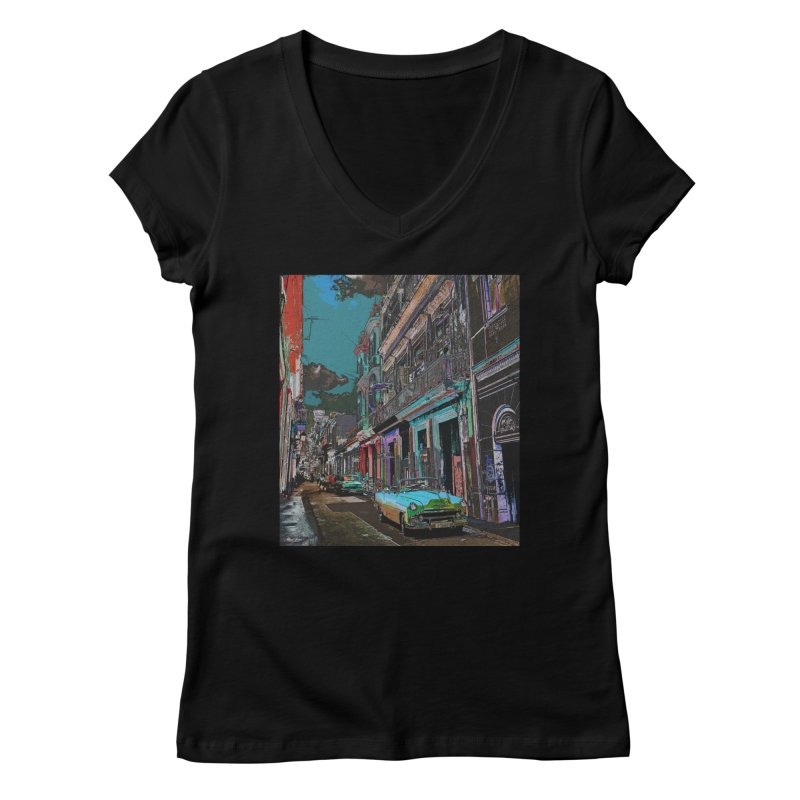 Streets of Havana -in blue Women's V-Neck by alisajane's Artist Shop
