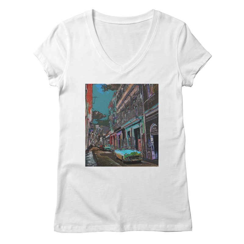 Streets of Havana -in blue Women's Regular V-Neck by alisajane's Artist Shop