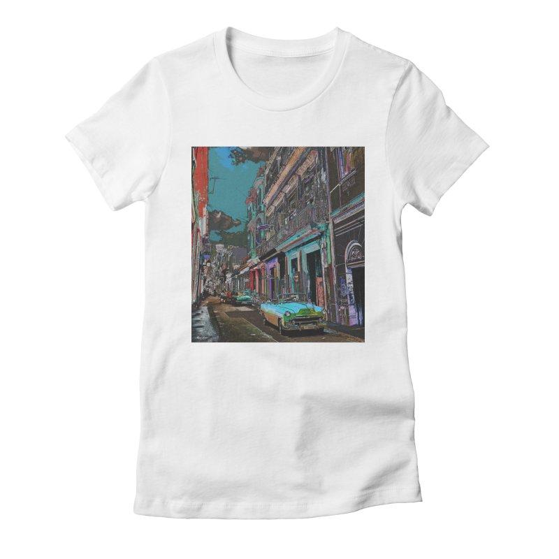 Streets of Havana -in blue Women's Fitted T-Shirt by alisajane's Artist Shop