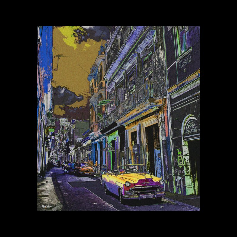 Streets of Havana -in yellow Women's Longsleeve T-Shirt by alisajane's Artist Shop