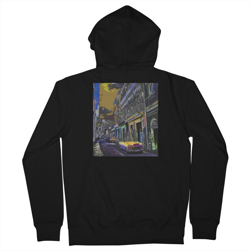 Streets of Havana -in yellow Women's French Terry Zip-Up Hoody by alisajane's Artist Shop