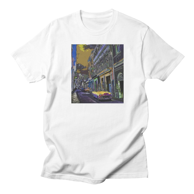 Streets of Havana -in yellow Men's Regular T-Shirt by alisajane's Artist Shop