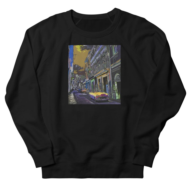 Streets of Havana -in yellow Women's French Terry Sweatshirt by alisajane's Artist Shop