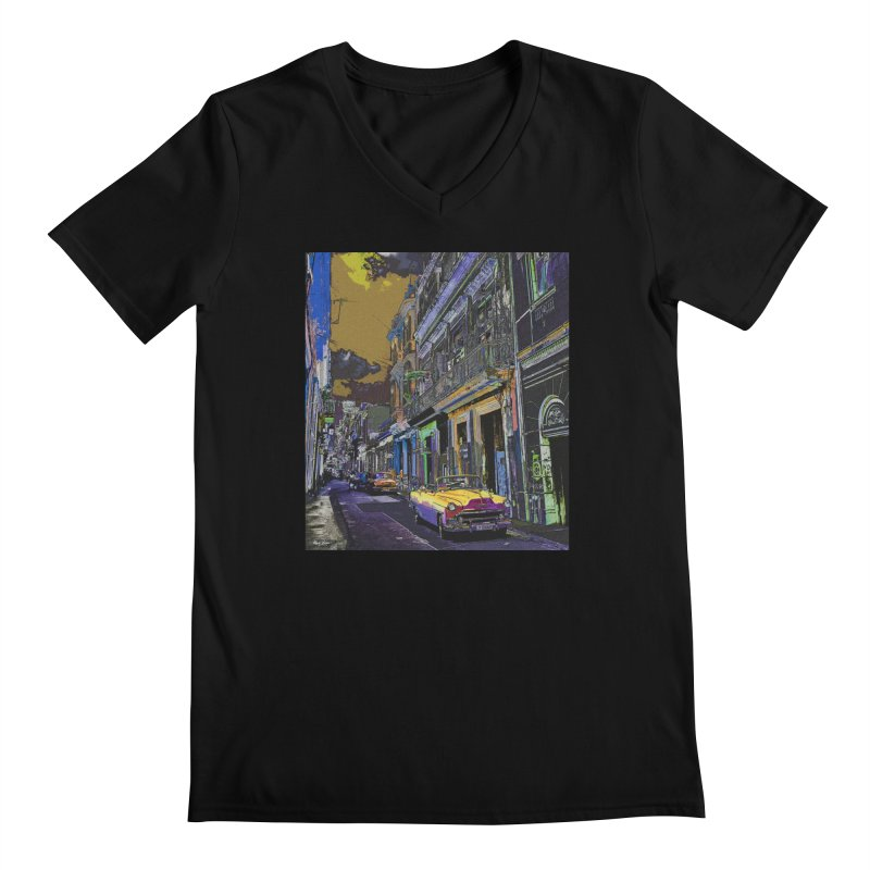 Streets of Havana -in yellow Men's V-Neck by alisajane's Artist Shop