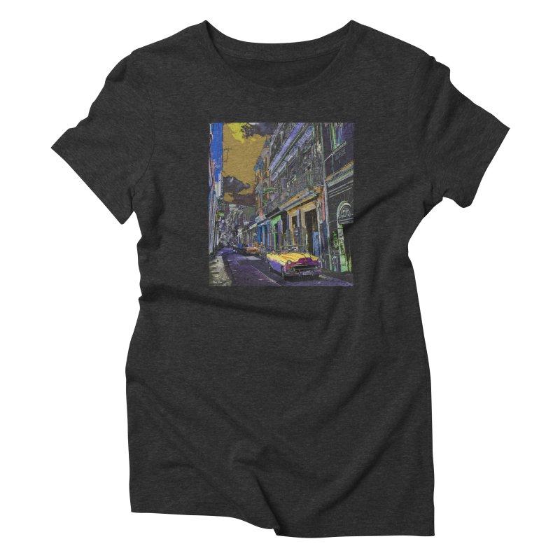 Streets of Havana -in yellow Women's T-Shirt by alisajane's Artist Shop