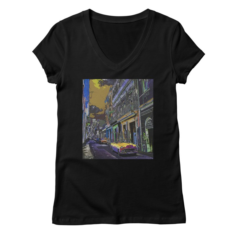 Streets of Havana -in yellow Women's V-Neck by alisajane's Artist Shop