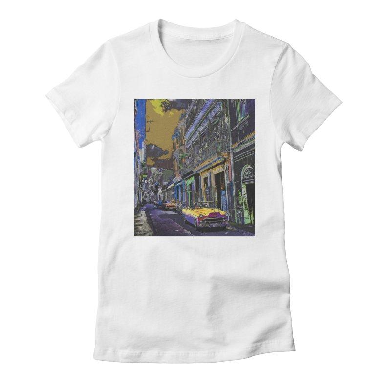 Streets of Havana -in yellow Women's Fitted T-Shirt by alisajane's Artist Shop