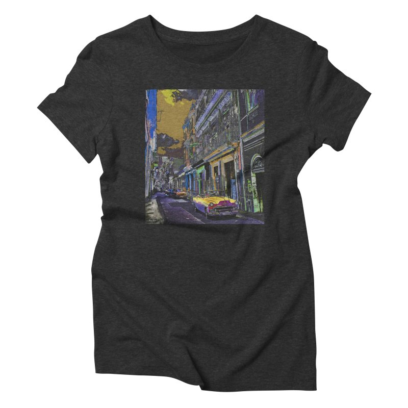 Streets of Havana -in yellow Women's Triblend T-Shirt by alisajane's Artist Shop