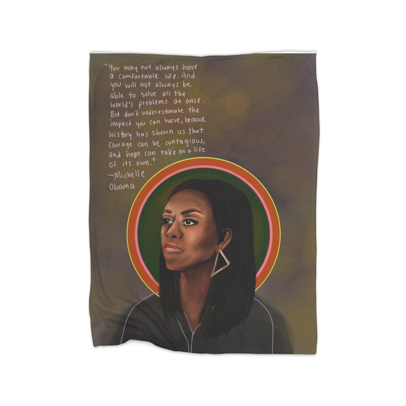 Michelle Obama Home Fleece Blanket Blanket by Alison Sommer's Artist Shop