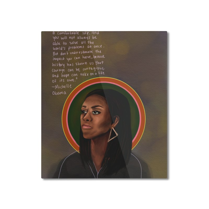 Michelle Obama Home Mounted Aluminum Print by Alison Sommer's Artist Shop