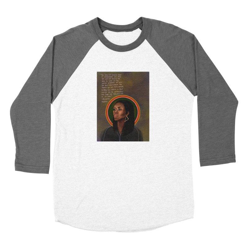 Michelle Obama Women's Baseball Triblend Longsleeve T-Shirt by Alison Sommer's Artist Shop