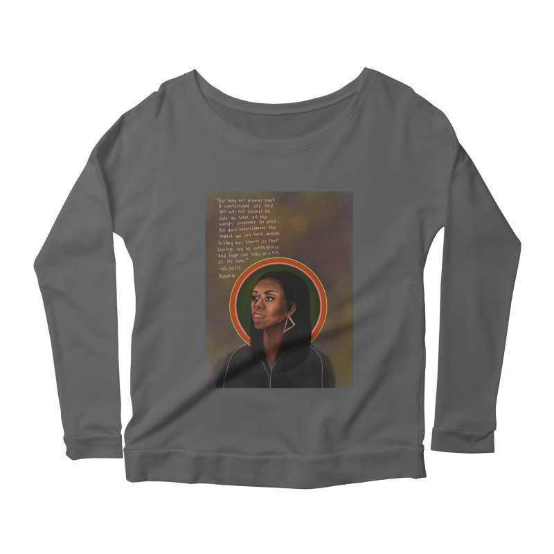 Michelle Obama Women's Scoop Neck Longsleeve T-Shirt by Alison Sommer's Artist Shop