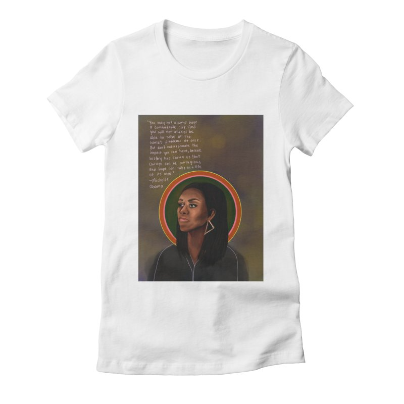 Michelle Obama Women's Fitted T-Shirt by Alison Sommer's Artist Shop