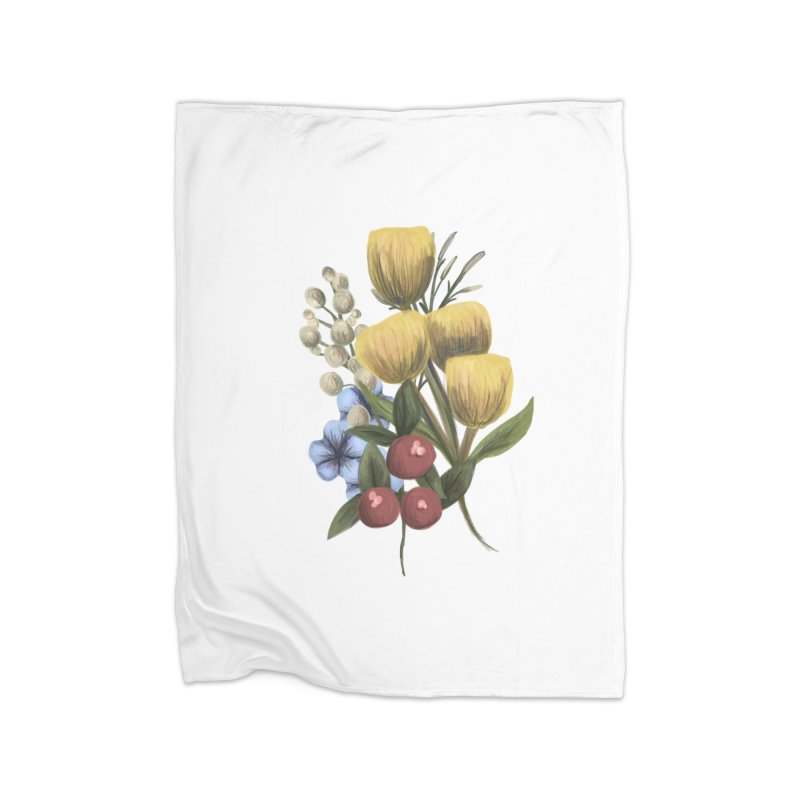 Flowers Home Fleece Blanket Blanket by Alison Sommer's Artist Shop