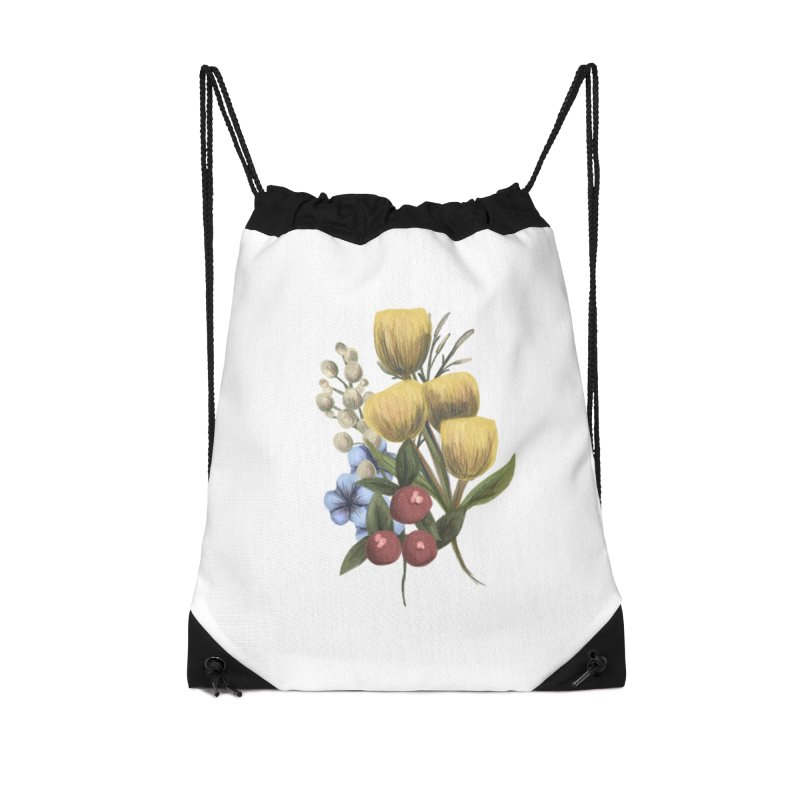 Flowers Accessories Drawstring Bag Bag by Alison Sommer's Artist Shop