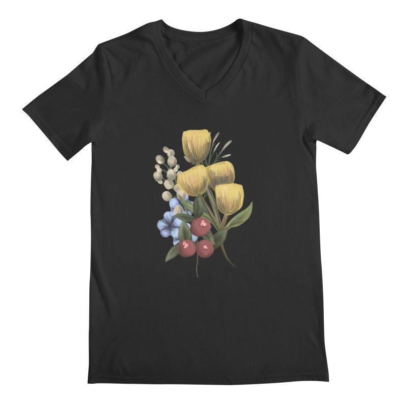 Flowers Men's Regular V-Neck by Alison Sommer's Artist Shop