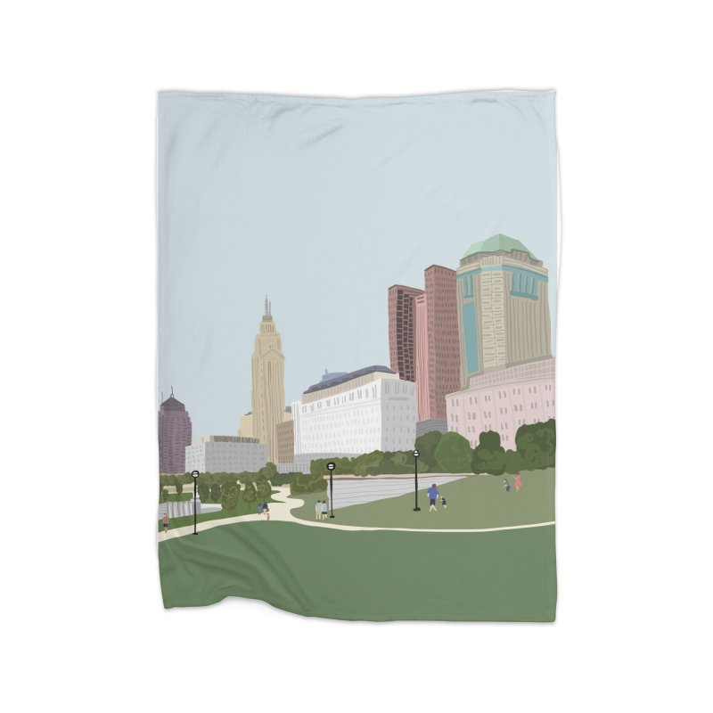 Downtown Columbus Home Fleece Blanket Blanket by Alison Sommer's Artist Shop