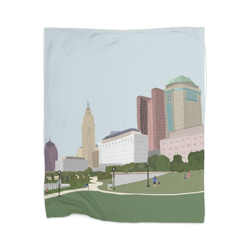 Downtown Columbus Home Blanket by Alison Sommer's Artist Shop