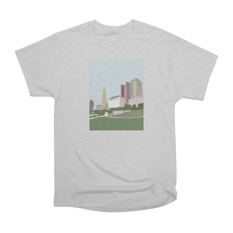 Downtown Columbus Men's Heavyweight T-Shirt by Alison Sommer's Artist Shop