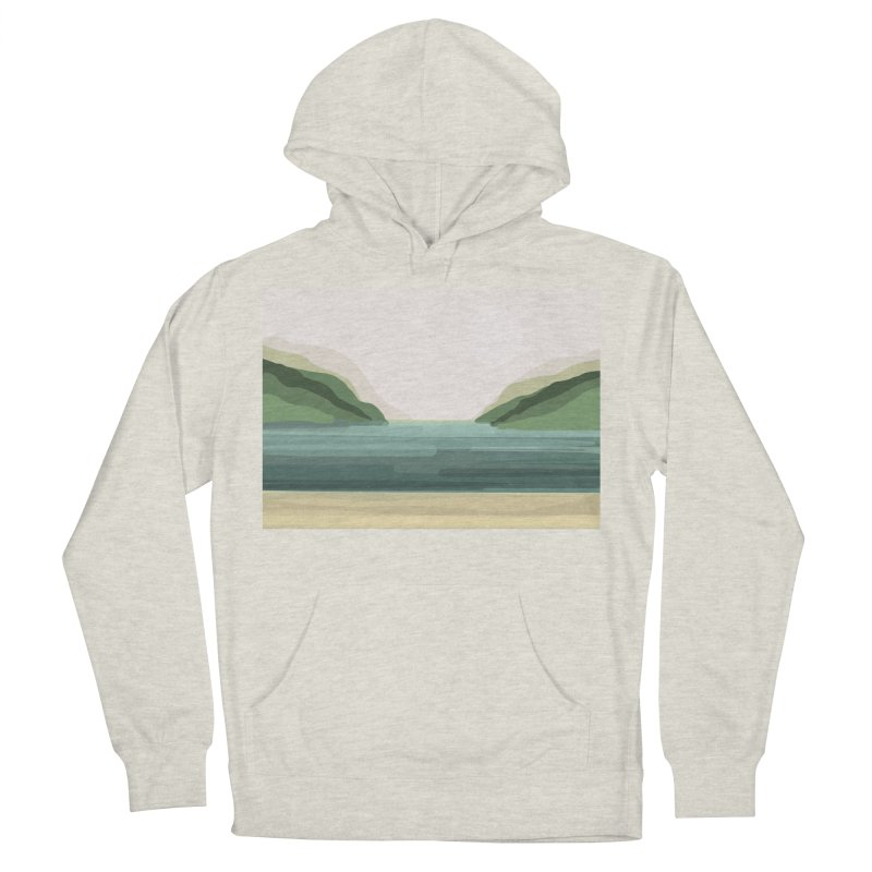 Lake View Men's French Terry Pullover Hoody by Alison Sommer's Artist Shop