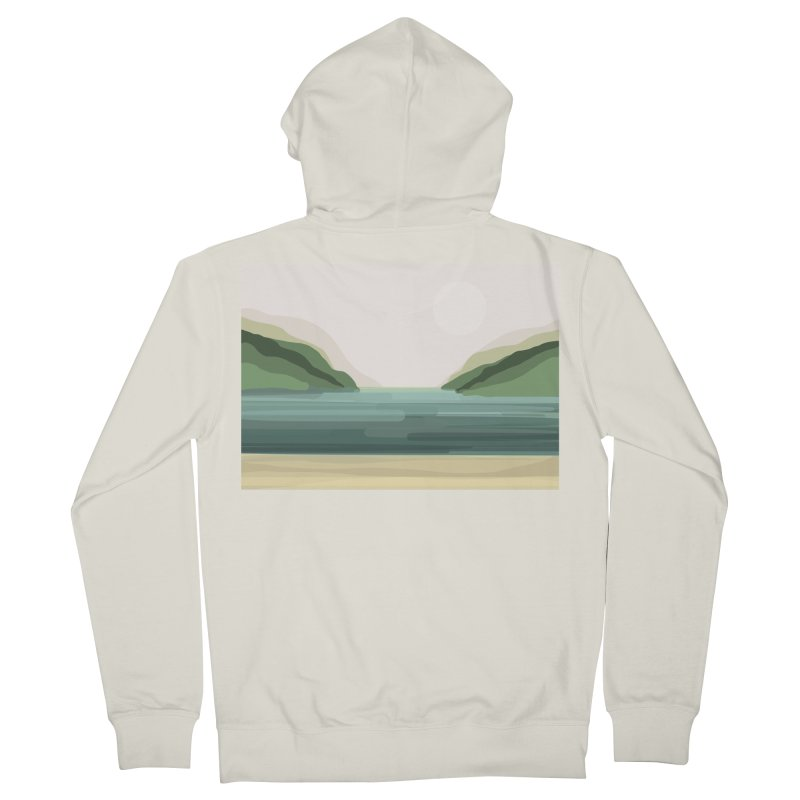 Lake View Men's Zip-Up Hoody by Alison Sommer's Artist Shop